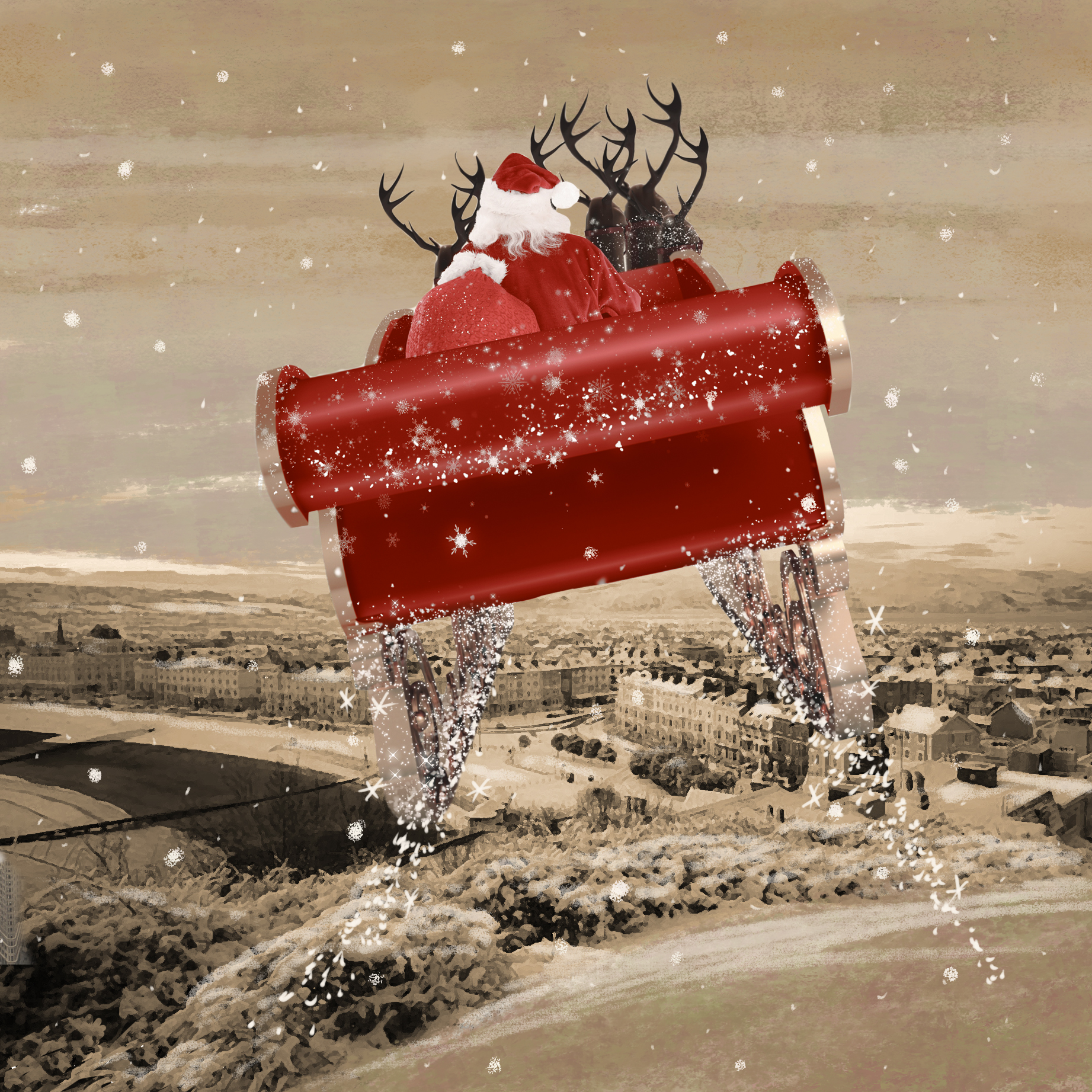 santa flying on his sleigh over llandudno st david s hospice