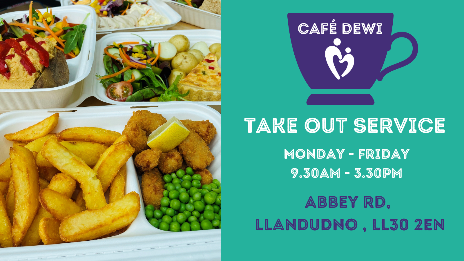 Take Out Service Available at Café Dewi, located at St David's Hospice Llandudno.