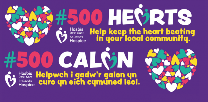 Show your support for St David's Hospice and join in the #500 Hearts campaign.