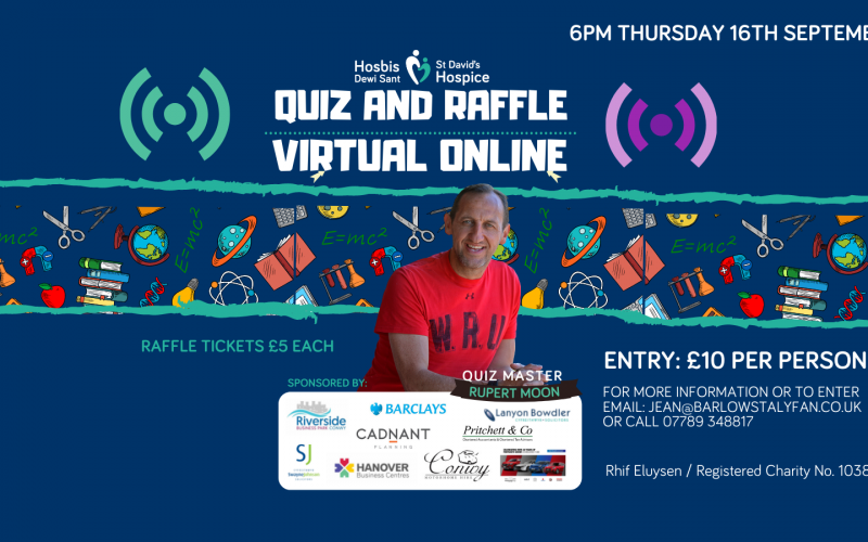 All welcome! Join in the North Wales Business Club Virtual Online Quiz and Raffle in aid of local hospice.